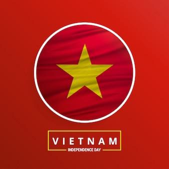 Wietnam niepodległości macha flagą na czerwonym tle abstrakcyjnych