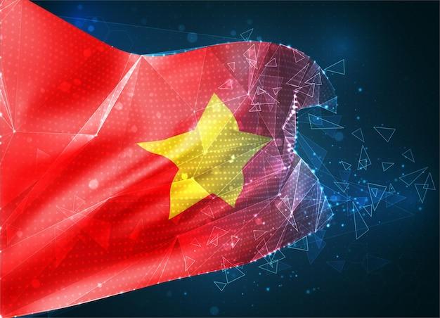 Wietnam, wektor flaga 3d na niebieskim tle z interfejsami hud
