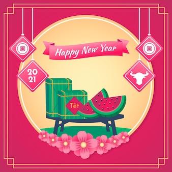 Wietnamski nowy rok 2021 i różowe tło