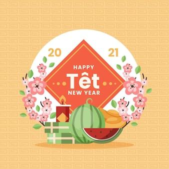 Wietnamski nowy rok arbuz i kwiaty