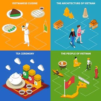 Wietnamskie elementy izometryczne turystyczne i postacie