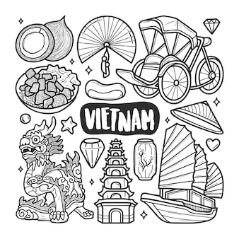 Wietnamskie ikony ręcznie rysowane doodle kolorowanki