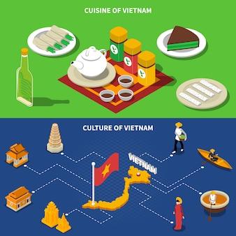 Wietnamskie izby turystyczne izometryczne banery