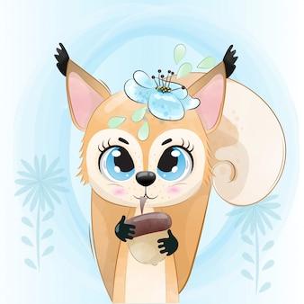 Wiewiórka dziecięca to urocza postać pomalowana akwarelą.