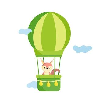 Wiewiórka leci balonem na ogrzane powietrze ilustracja wektorowa dla przedszkola