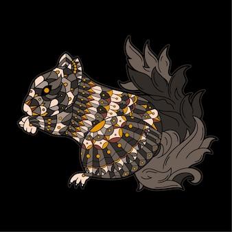 Wiewiórka narysowana w stylu zentangle