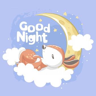 Wiewiórka śpi w chmurach z dobranoc napis