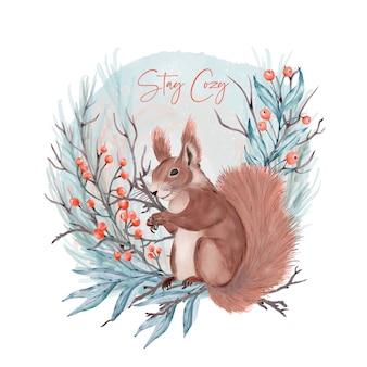 Wiewiórka w lesie. pozostań przytulny