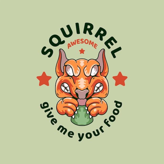 Wiewiórka z czaszką ilustracja styl retro na t-shirt