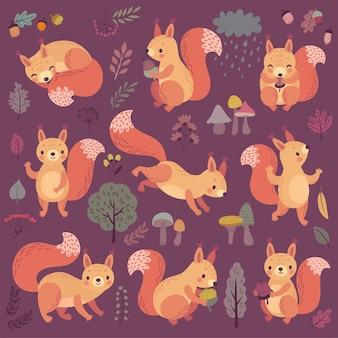 Wiewiórka zestaw ręcznie rysowane stylu