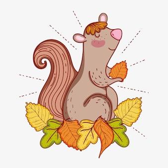 Wiewiórka zwierząt siedzących jesienne liście