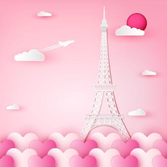 Wieża eiffla, francja, paryż i chmura na serce.