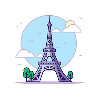 Wieża eiffla ilustracje. koncepcja zabytków biały na białym tle. płaski styl kreskówki