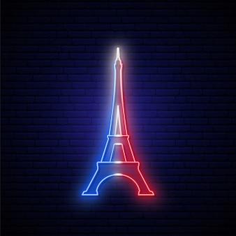 Wieża eiffla neon znak.