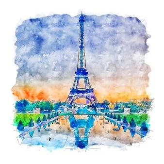 Wieża eiffla paryż francja szkic akwarela ręcznie rysowane ilustracji