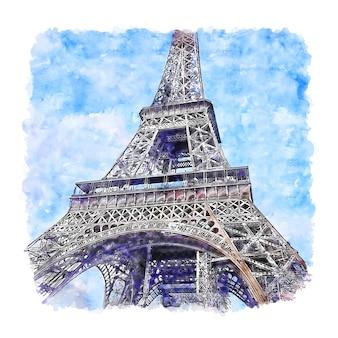 Wieża eiffla paryż francja szkic akwarela ręcznie rysowane