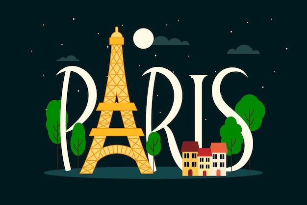 Wieża eiffla paryż miasto literowanie