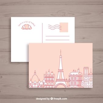 Wieża eiffla w paryżu. karta pocztowa
