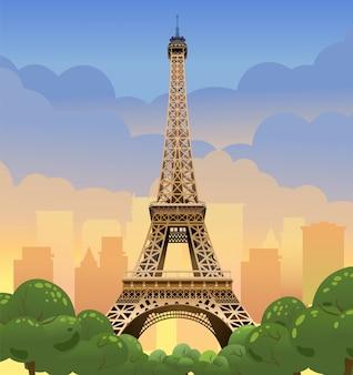 Wieża eiffla w paryżu. zachód słońca na polach elizejskich. wieczór w paryżu. zachód słońca we francji