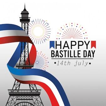 Wieża eiffla z wstążką flaga francji