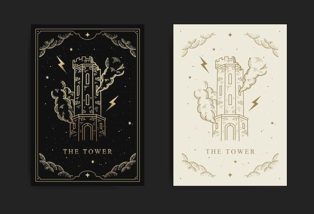 Wieża. karta tarota wielkie arkana, z grawerowaniem, luksusem, ezoterycznymi, boho, duchowymi, geometrycznymi, astrologicznymi, magicznymi motywami, dla karty czytnika tarota.