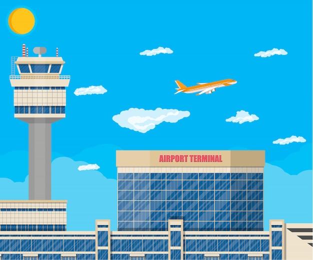 Wieża kontroli lotniska, budynek terminalu