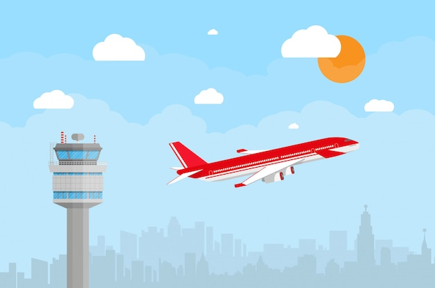 Wieża kontrolna lotniska i latający samolot