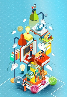 Wieża książek z czytelnikami. koncepcja edukacyjna. biblioteka internetowa. edukacja online izometryczny płaska konstrukcja na niebieskim tle. ilustracja