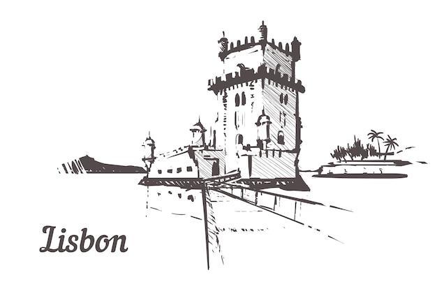 Wieża torre de belem w krajobrazie lizbony