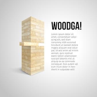 Wieża z białych drewnianych bloków tekstury i zrób jedną ilustrację bloku