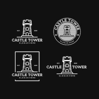 Wieża zamkowa prosta grafika liniowa rocznika logo szablon projektu premium