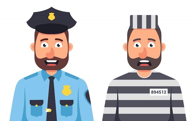 Więzień w więzieniu paskował formę na białym tle. strażnik więzienny. policjant w czapce. charakter ilustracji wektorowych.