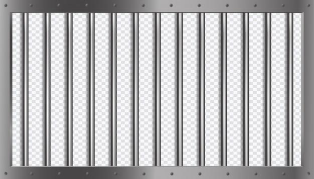 Więzienie kraty lub pręty z metalową ramą w stylu 3d