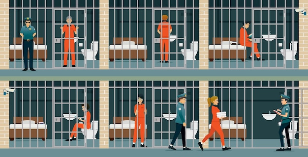 Więźniowie i kobiety przebywający w więzieniu są pilnowani przez strażników.