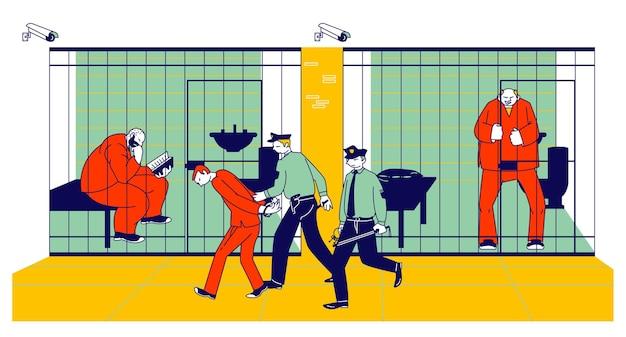 Więźniowie w więzieniu i policjanci. ludzie w pomarańczowych kombinezonach w celi. płaskie ilustracja kreskówka