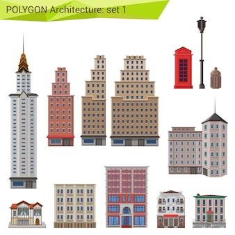 Wieżowce i budynki miasta, zestaw architektury w stylu wielokąta.