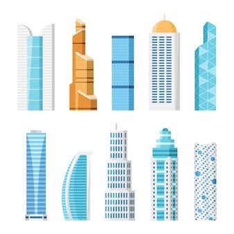 Wieżowce miasta, na białym tle kreskówka zestaw