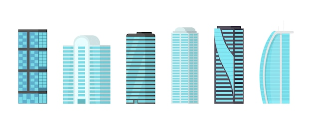 Wieżowce miasta na białym tle. wieżowce z błyszczącymi szklanymi fasadami w centrum miasta. nowoczesna ilustracja,.