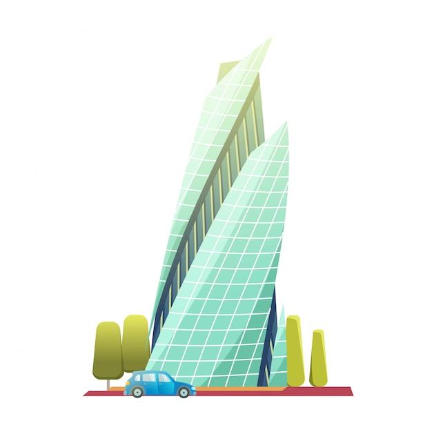 Wieżowce śródmieścia z błyszczącymi szklanymi fasadami. ilustracja wektorowa nowoczesny styl płaski na białym tle. drapacz chmur z samochodem i drzewami.