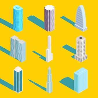 Wieżowce, zestaw budynków miejskich izometryczny