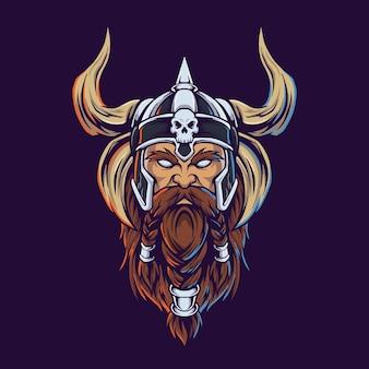 Wiking wojownik z siekierą ilustracja