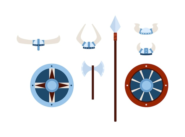 Wikingowie broń i zbroje zestaw płaskich ilustracji wektorowych na białym tle