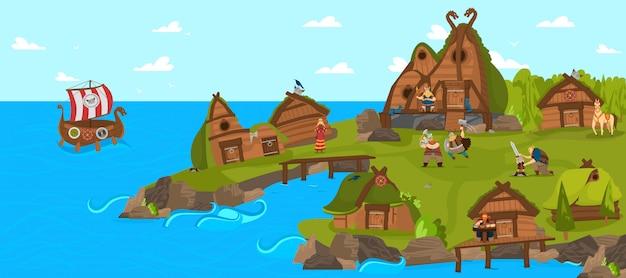 Wikingowie i skandynawscy wojownicy osada zabawna ilustracja kreskówka ze skandynawii historia mitologia komiks.
