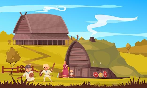 Wikingowie kultura osada życie rodzinne tradycje dzieci bawiące się walki na świeżym powietrzu