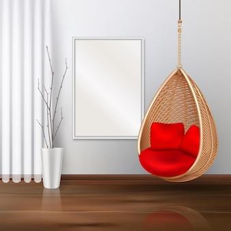 Wiklinowe wiszące krzesło huśtawka wnętrze realistyczna ilustracja