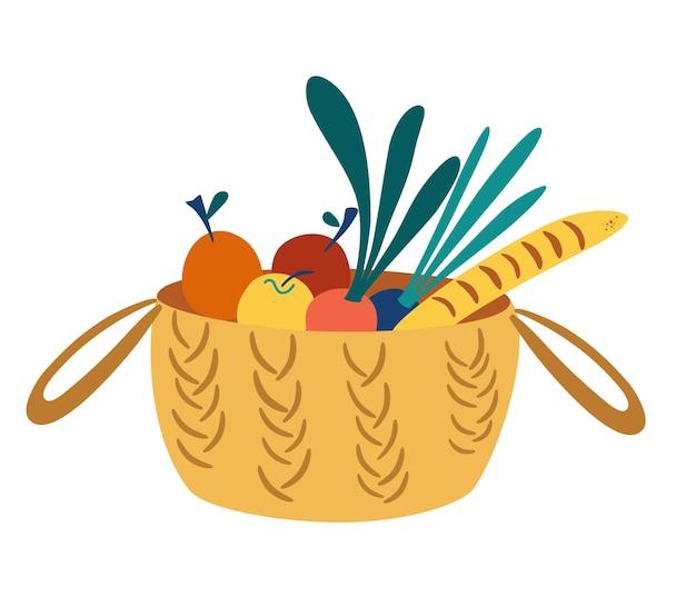 Wiklinowy kosz z artykułami spożywczymi. kosz piknikowy ze zdrową żywnością ekologiczną. zakupy żywności ekologicznej