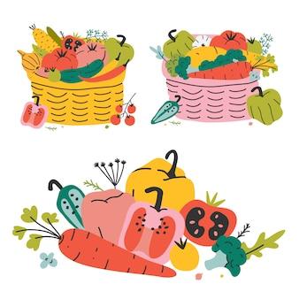 Wiklinowy kosz z różnymi warzywami, jesienne zbiory. kolorowa ręka rysująca wektorowa ilustracja