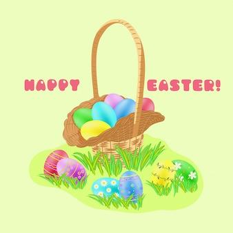 Wiklinowy koszyk myśliwski z malowanymi jajkami