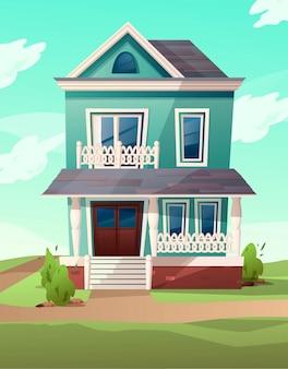 Wiktoriański budynek w stylu retro. kreskówki ilustracja zielony mieszkanie dom na natura krajobrazie. .sic rgb