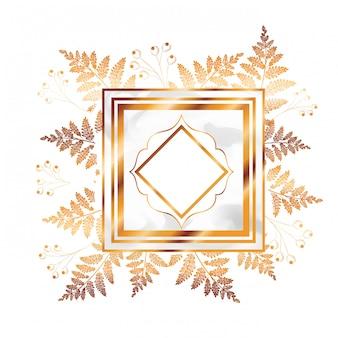 Wiktoriański złoty z ramą i kwiatami